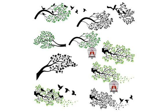 Trees Silhouettes Clipart Graphic Illustrations By tigatelusiji