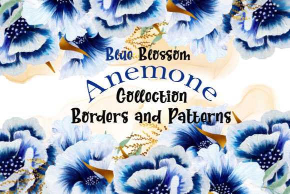 Print on Demand: Watercolor Anemone Patterns and Borders Graphic Illustrations By Andreea Eremia Design