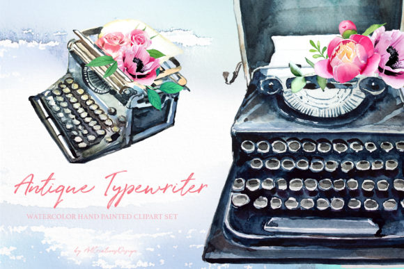 Watercolor Antique Typewriter Designs Graphic Illustrations By artcreationsdesign
