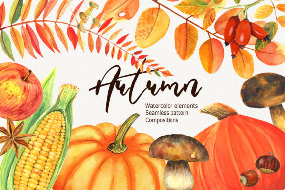 Print on Demand: Watercolor Autumn Clipart Graphic Illustrations By evgenia_art_art