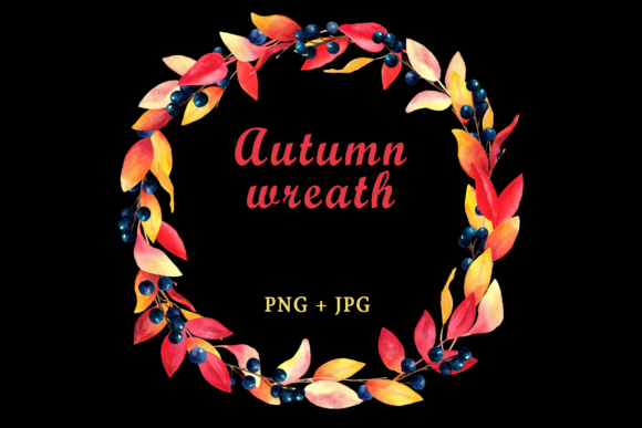 Watercolor Autumn Wreath Clipart Graphic Illustrations By colours_of_wind