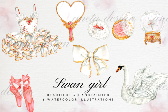 Watercolor Ballerina Dress, Shoes Graphic Illustrations By Aneta Design