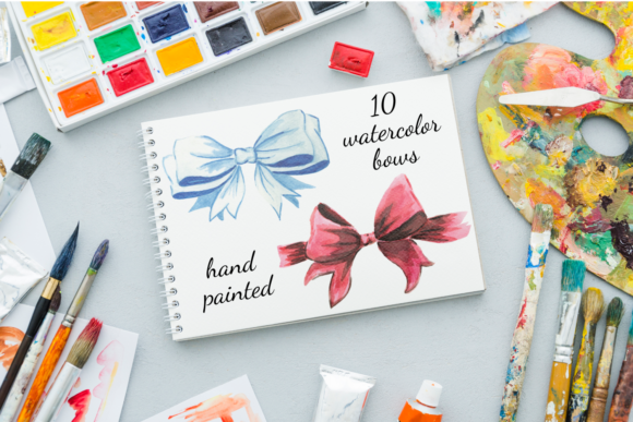 Watercolor Bows Illustrations, Baby Bows Graphic Illustrations By Aneta Design