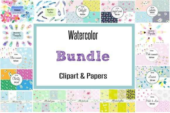 Print on Demand: Watercolor Clip Art and Digital Papers Bundle  By Anines Atelier