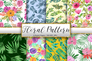 Print on Demand: Watercolor Floral Pattern Background Graphic Patterns By PinkPearly