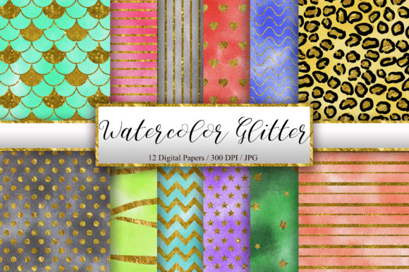 Watercolor Glitter Digital Papers Graphic Backgrounds By PinkPearly