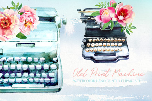 Watercolor Old Print Machine Designs Graphic Illustrations By artcreationsdesign