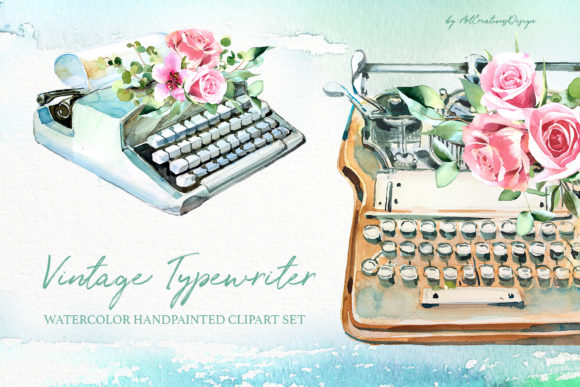 Watercolor Vintage Typewriter Designs Graphic Illustrations By artcreationsdesign