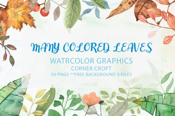 Watercolor Clip Art,Many Colored Leaves Graphic Illustrations By Saydung89