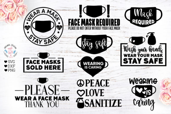 Wear a Face Mask Quotes Bundle Graphic Crafts By GraphicHouseDesign