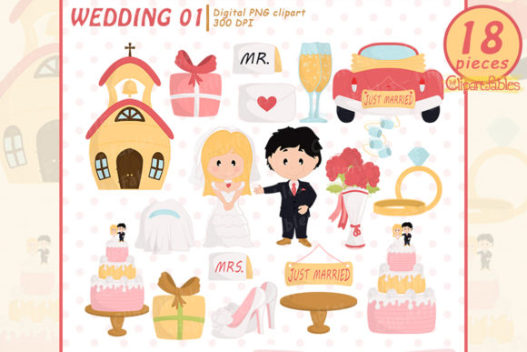 Wedding Clipart, Just Married Clip Art Graphic Illustrations By clipartfables