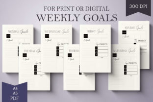 Print on Demand: Weeekly Goal Planner - A4 & A5 - Daily Graphic Print Templates By Digital to Art
