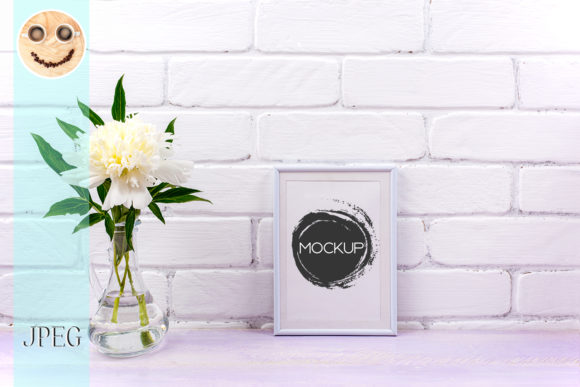 Print on Demand: White Small Frame Mockup with Peony Graphic Product Mockups By TasiPas