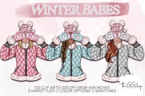Print on Demand: Winter Girls Cliparts Graphic Illustrations By TheGGShop