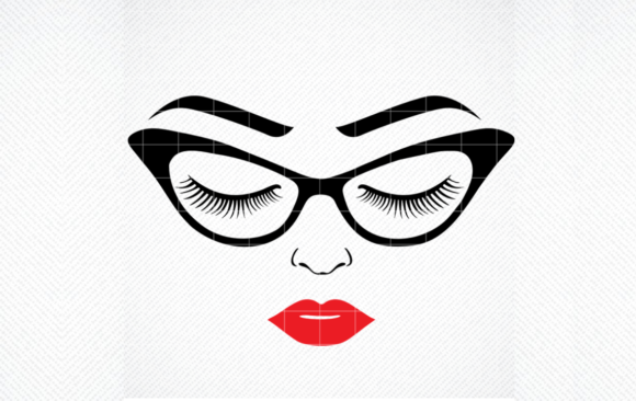 Print on Demand: Women's Face, Girl in Glasses Graphic Crafts By SVG DEN