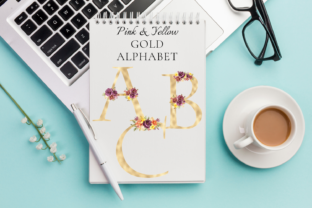 Yellow Gold Foil Alphabet with Flowers Graphic 3D Pillow Box By Aneta Design