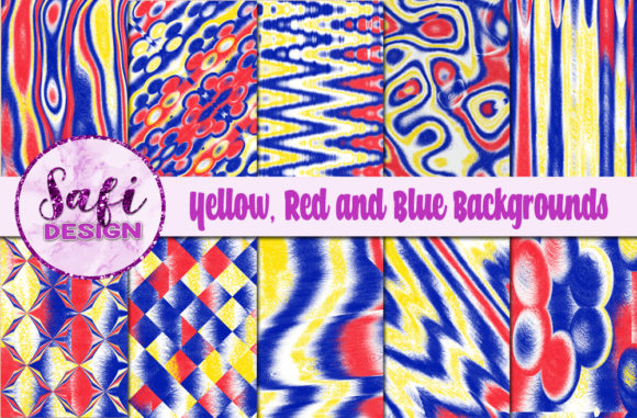 Print on Demand: Yellow, Red and Blue Digital Papers Graphic Backgrounds By Safi Designs