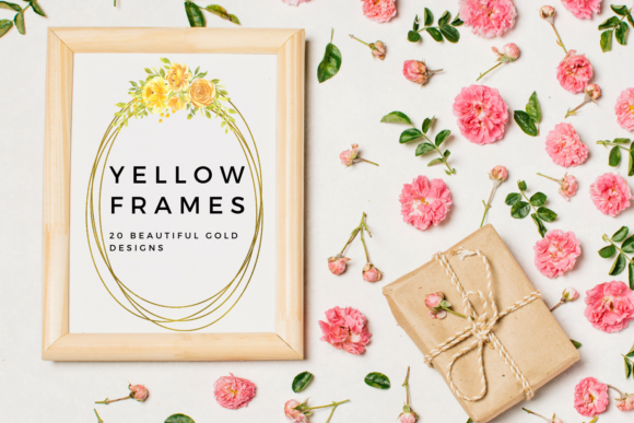 Yellow Watercolor Flowers Frames Graphic Illustrations By Aneta Design