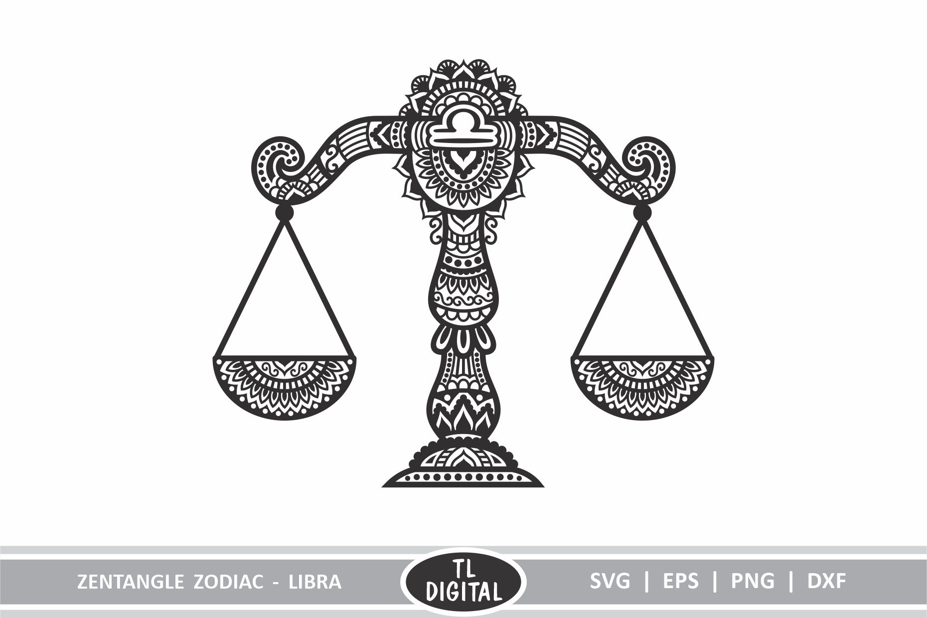 Zentangle Libra Scales Star Sign Graphic By Tl Digital Creative Fabrica
