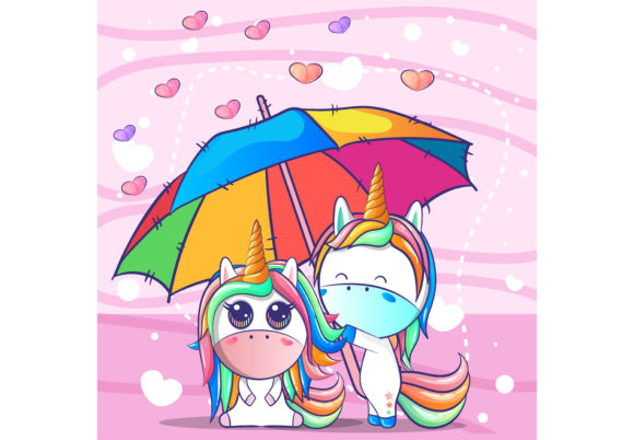 A Couple Unicorn Under an Umbrella Graphic Illustrations By maniacvector