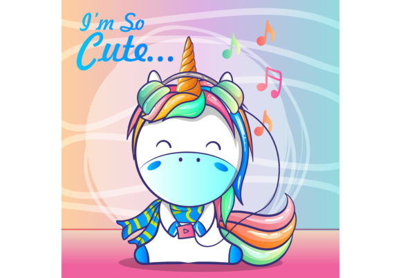 Cute Baby Unicorn Listening Music Graphic Illustrations By maniacvector