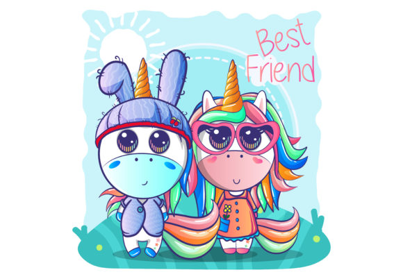 Cute Couple Unicorn Cartoon Graphic Illustrations By maniacvector