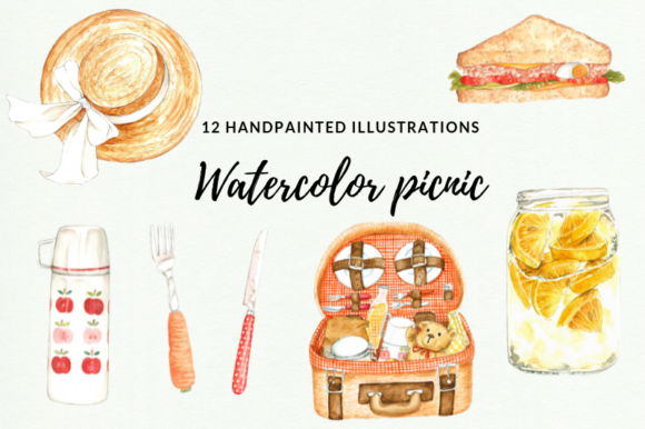 12 Watercolor Picnic Illustrations Graphic Illustrations By Aneta Design