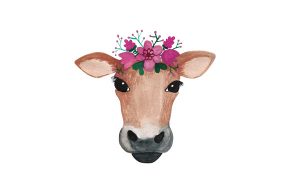 Cow Head with Flower Crown Animals Craft Cut File By Creative Fabrica Crafts