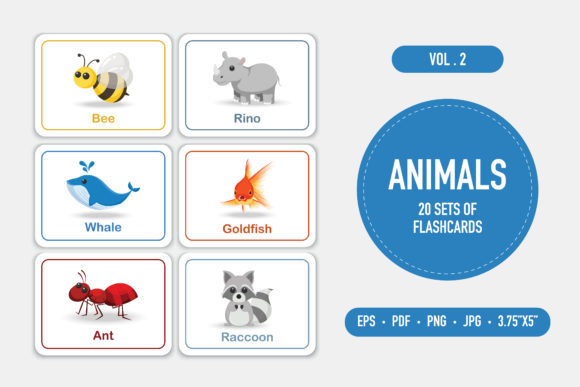 20 Set of Cute Animal Flashcards Vol.2 Graphic Coloring Pages & Books Kids By bongkarngraphic