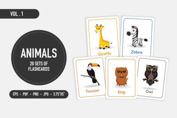 20 Set of Cute Animal Flashcards Vol.1 Graphic Coloring Pages & Books Kids By bongkarngraphic