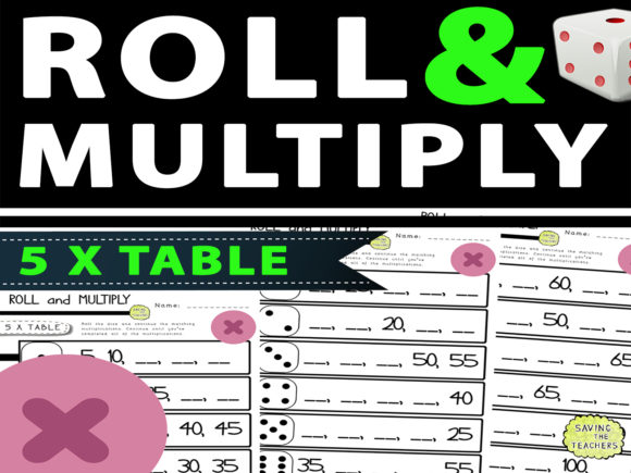 5 Times Table Multiplication Dice Game Graphic 2nd grade By Saving The Teachers