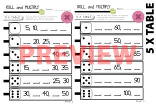5 Times Table Multiplication Dice Game Graphic 2nd grade By Saving The Teachers 2