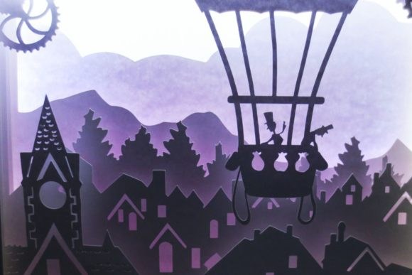 Balloon Ride - 3D Paper Light Box Template Graphic 3D SVG By Kiyoni
