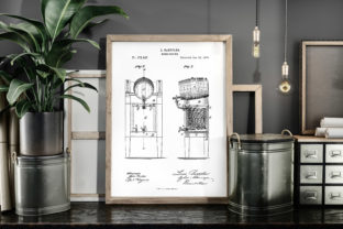 Print on Demand: Beer Cooler 1876 Patent Poster Blueprint Graphic Illustrations By Antique Pixls
