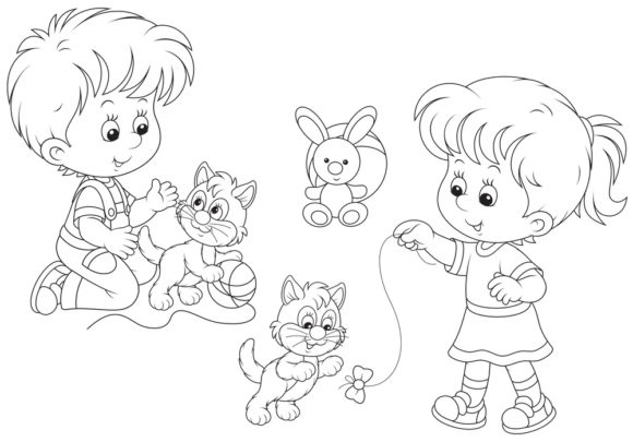 Print on Demand: Cat Coloring Page for Kids Graphic Graphic Coloring Pages & Books Adults By ajubayer555