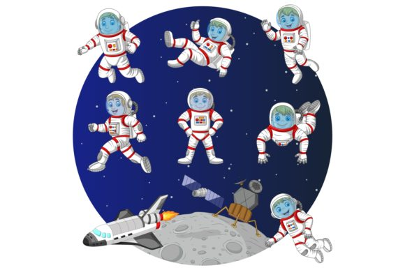 Cartoon Space Kids Clip Art Collection Graphic Illustrations By tigatelusiji