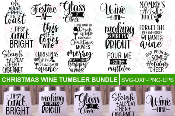 Print on Demand: Christmas Wine Quotes Bundle Graphic Print Templates By Designdealy.com