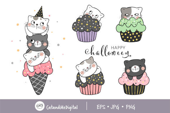 Clip Art Sweet Cat for Halloween Graphic Illustrations By CatAndMe