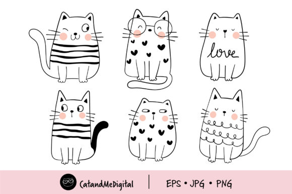 Collection Doodle Funny Cats Graphic Illustrations By CatAndMe