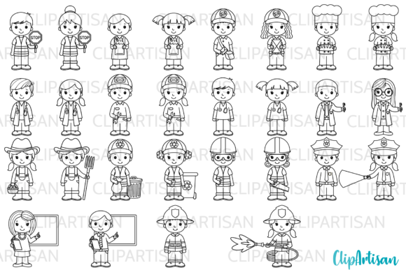 Community Helpers Clipart, Jobs Graphic Illustrations By ClipArtisan