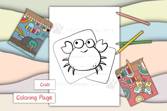 Crab Graphic Coloring Pages & Books Kids By TakeNoteDesign