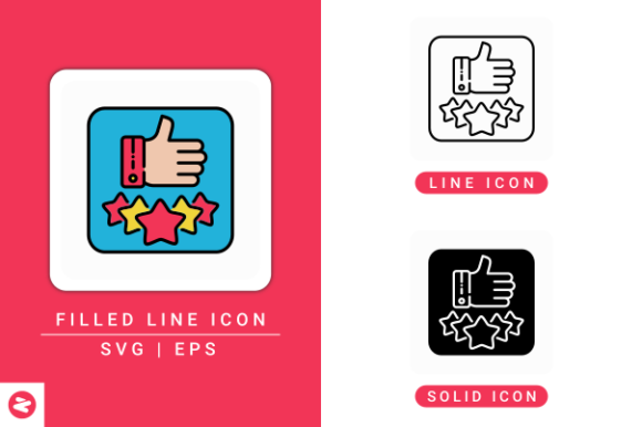 Print on Demand: Customer Review Icons Set Graphic Icons By zenorman03