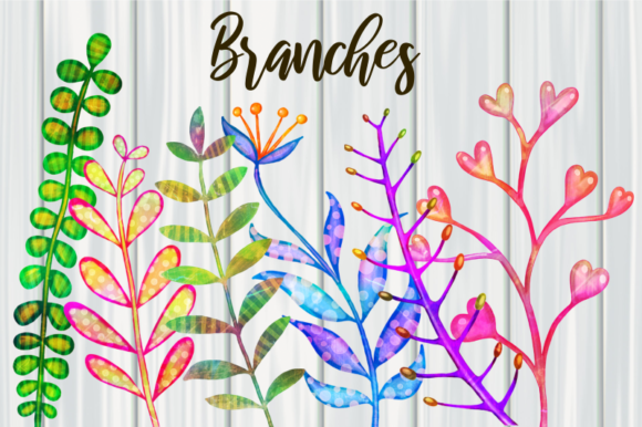 Print on Demand: Decorative Watercolor Botanical Branches Graphic Illustrations By Prawny