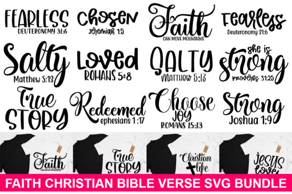 Print on Demand: Faith Christian Bible Verse Bundle Graphic Print Templates By Designdealy.com