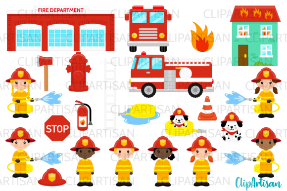 Firefighter Clipart, Firetruck Graphic Illustrations By ClipArtisan