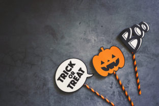 Flat Lay of Halloween Prop Graphic Photos By Nuchylee