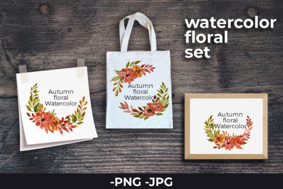 Print on Demand: Floral Watercolor Autumn Wreath Set Graphic Crafts By AzrielMch