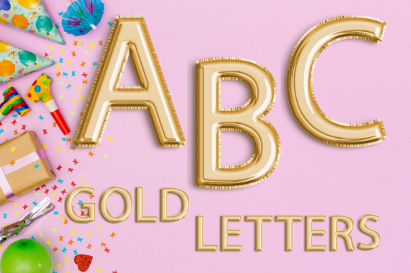 Gold Balloon Alphabet Clip Art Graphic Illustrations By Aneta Design