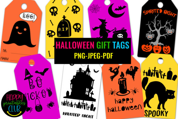 Print on Demand: Halloween Gift Tags- Halloween Favor Tag Graphic Illustrations By Happy Printables Club