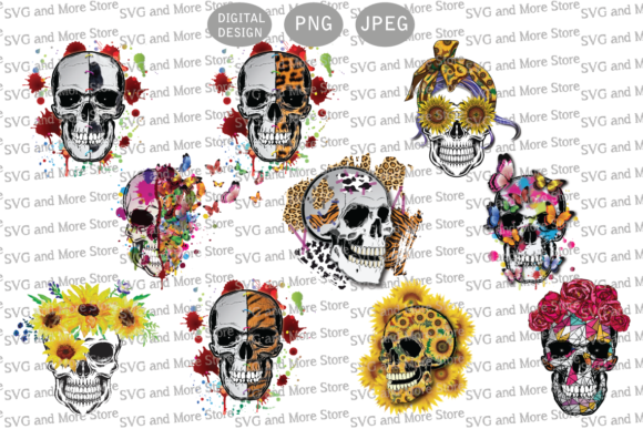 Halloween Skull Bundle Graphic Illustrations By svgandmorestore